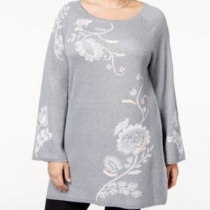StyleCo Heather Embroidered Tunic Sweater 0X 1X 3X